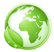 Planète verte avec une feuille sur le tour